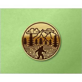 Sasquatch Circle Wood Decal